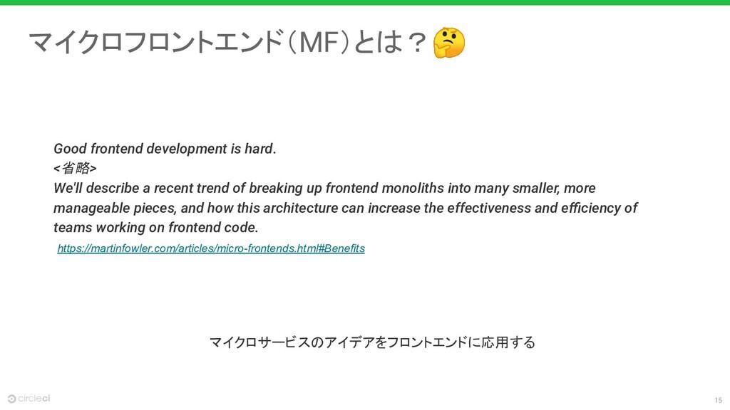 15 マイクロフロントエンド(MF)とは? Good frontend development...