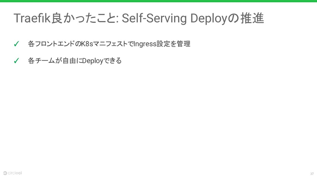 37 Traefik良かったこと: Self-Serving Deployの推進 ✓ 各フロント...