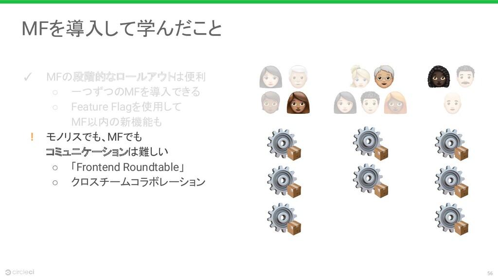 56 MFを導入して学んだこと ✓ MFの段階的なロールアウトは便利 ○ 一つずつのMFを導入...
