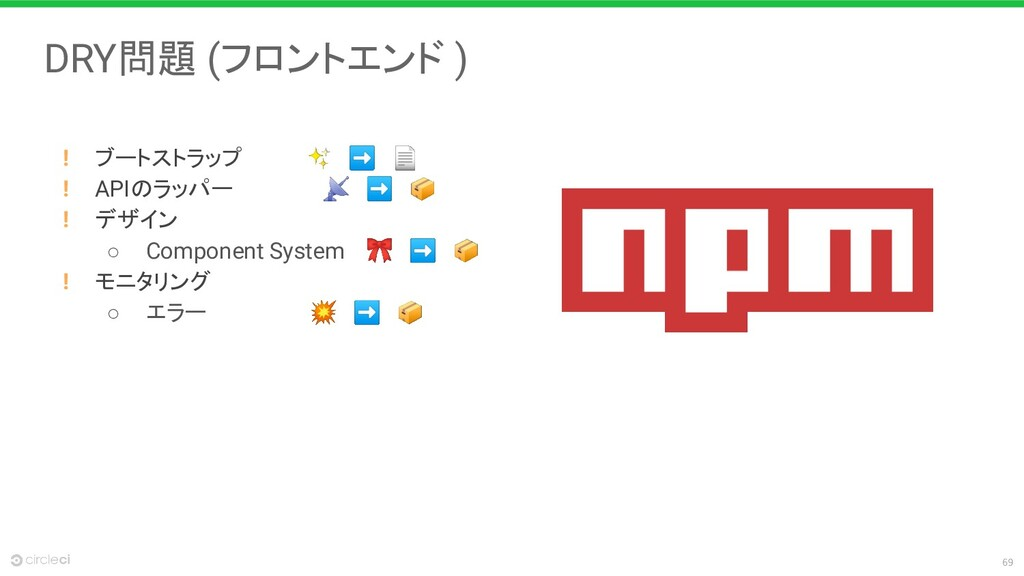 69 DRY問題 (フロントエンド ) ! ブートストラップ     ✨ ➡  ! APIのラ...