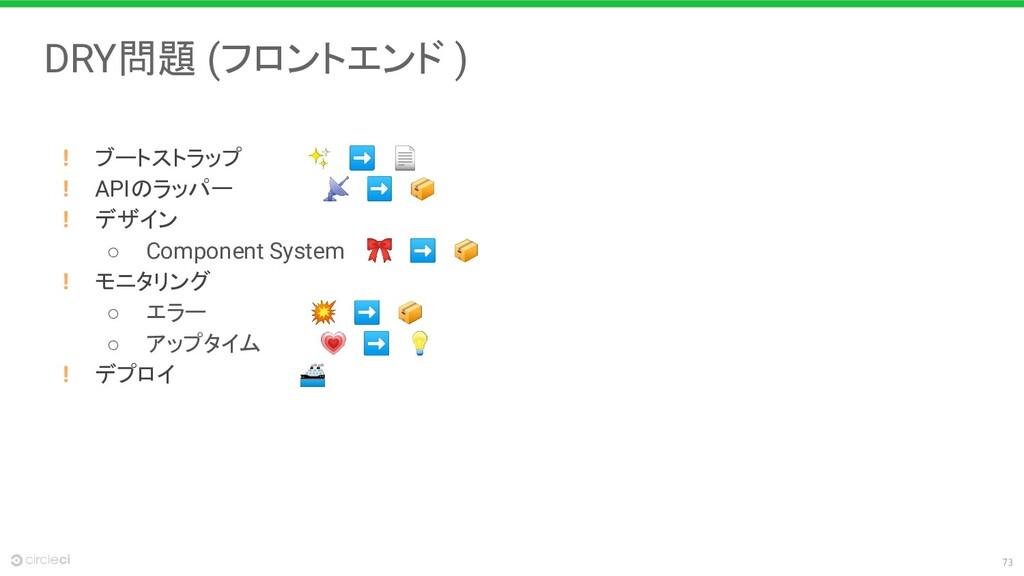 73 DRY問題 (フロントエンド ) ! ブートストラップ     ✨ ➡  ! APIのラ...