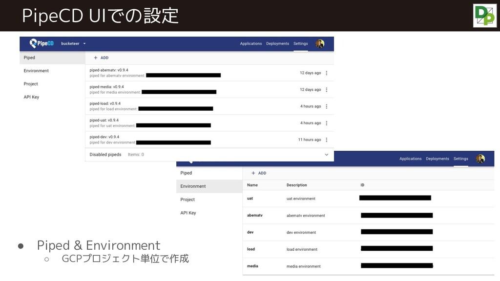 PipeCD UIでの設定 ● Piped & Environment ○ GCPプロジェクト...