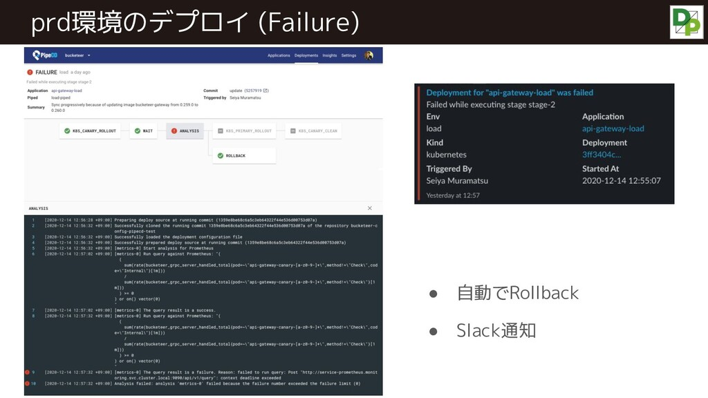 prd環境のデプロイ (Failure) ● 自動でRollback ● Slack通知