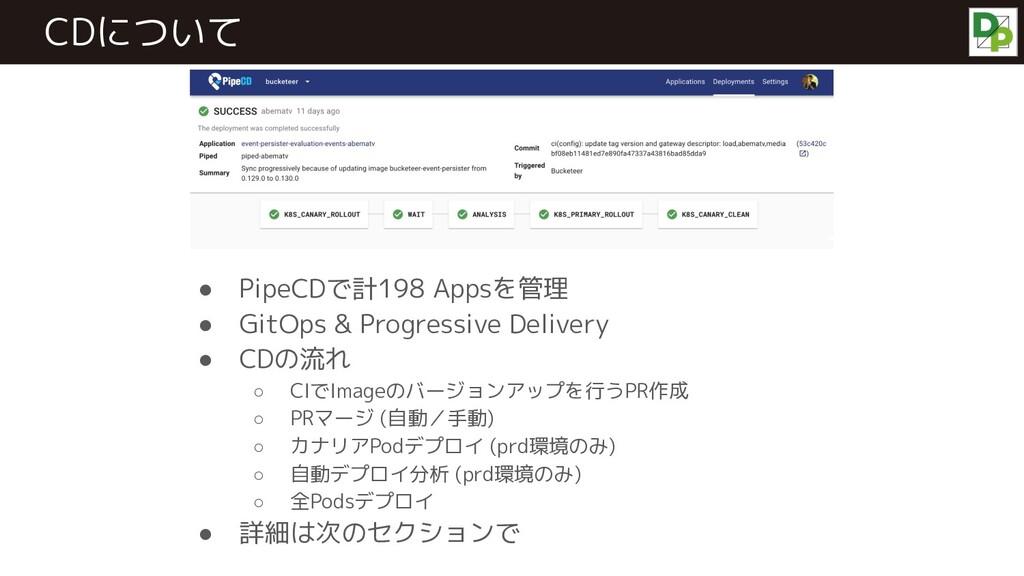 CDについて ● PipeCDで計198 Appsを管理 ● GitOps & Progres...
