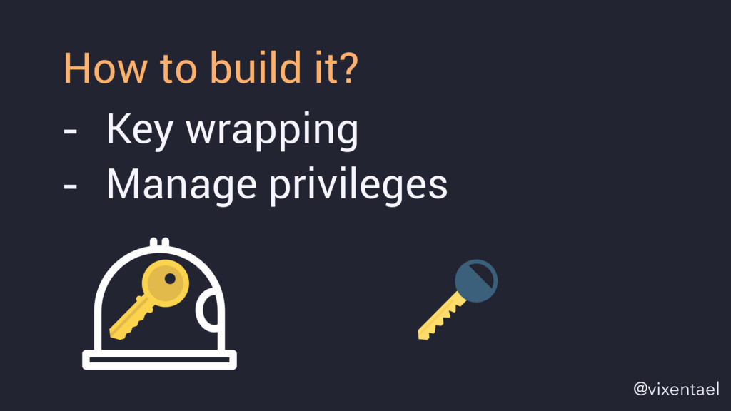 - Key wrapping - Manage privileges How to build...
