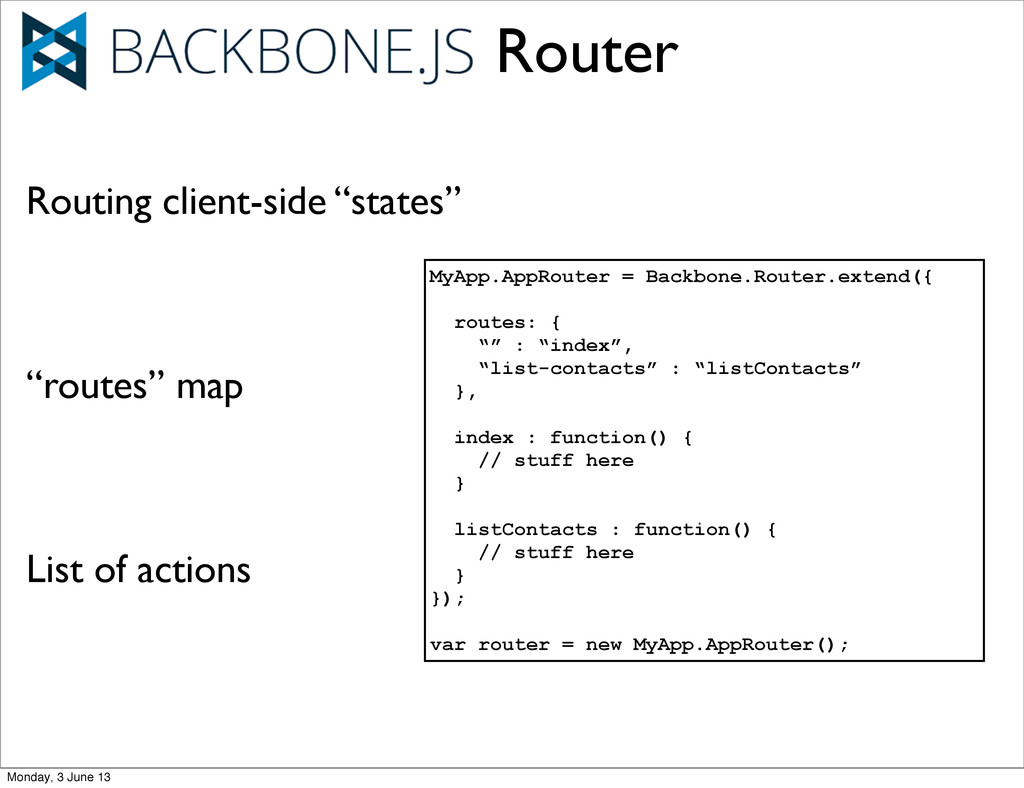 Router MyApp.AppRouter = Backbone.Router.extend...