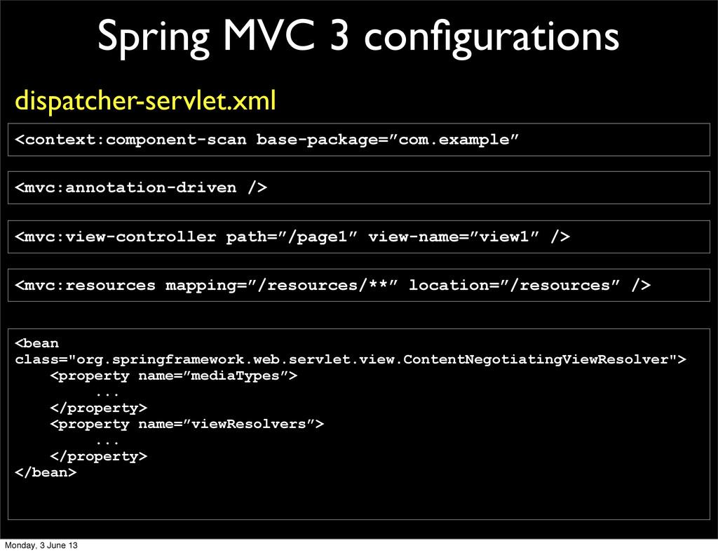 Spring MVC 3 configurations <mvc:annotation-driv...