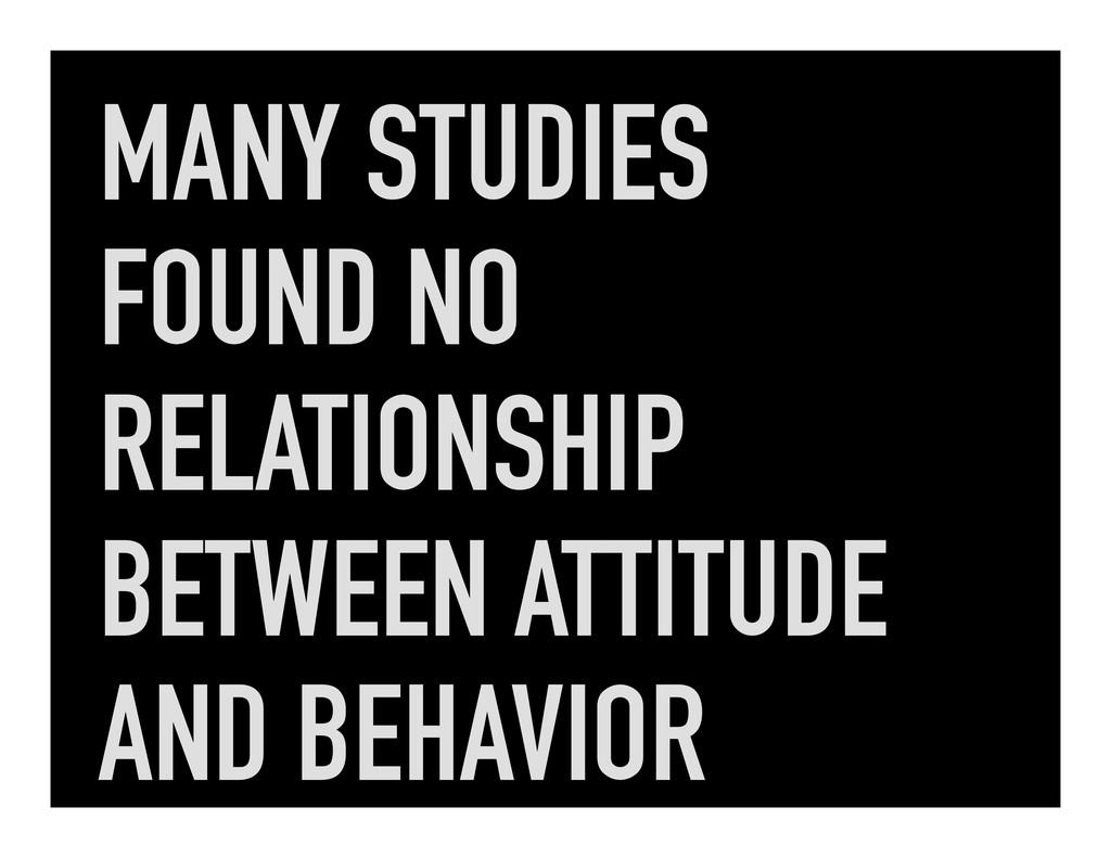 MANY STUDIES FOUND NO RELATIONSHIP BETWEEN ATTI...