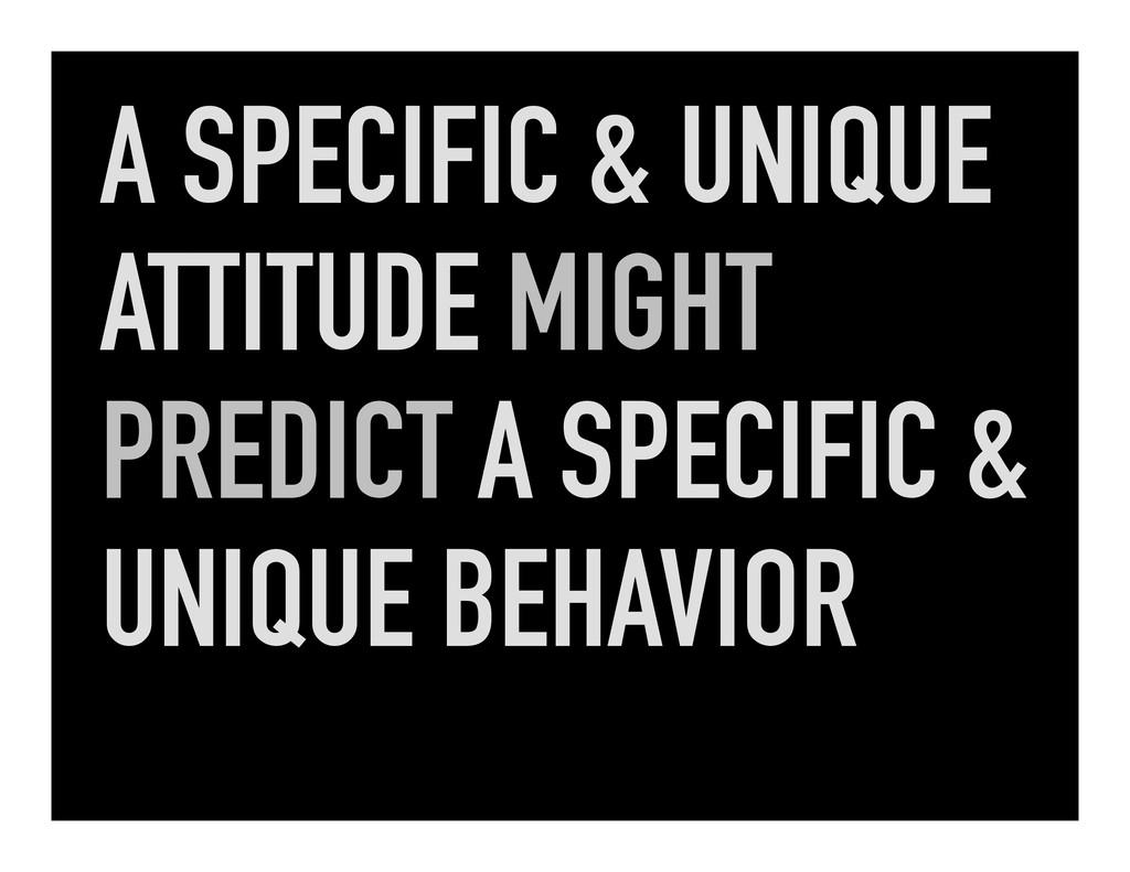 A SPECIFIC & UNIQUE ATTITUDE MIGHT PREDICT A SP...
