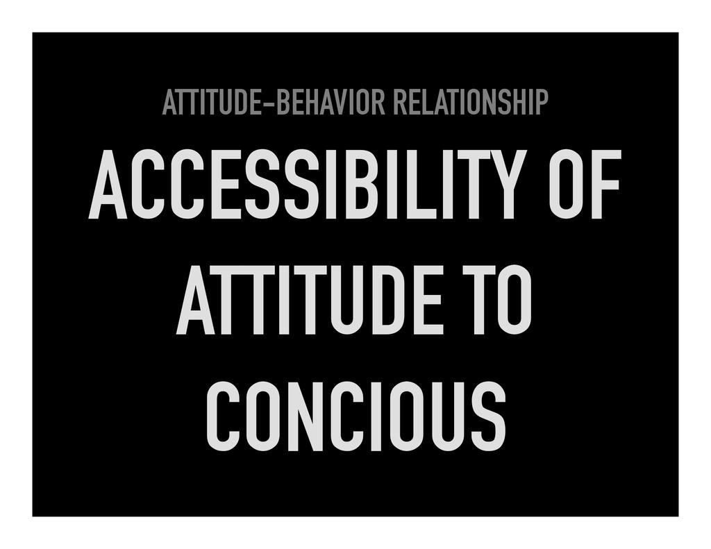 ATTITUDE-BEHAVIOR RELATIONSHIP ACCESSIBILITY OF...