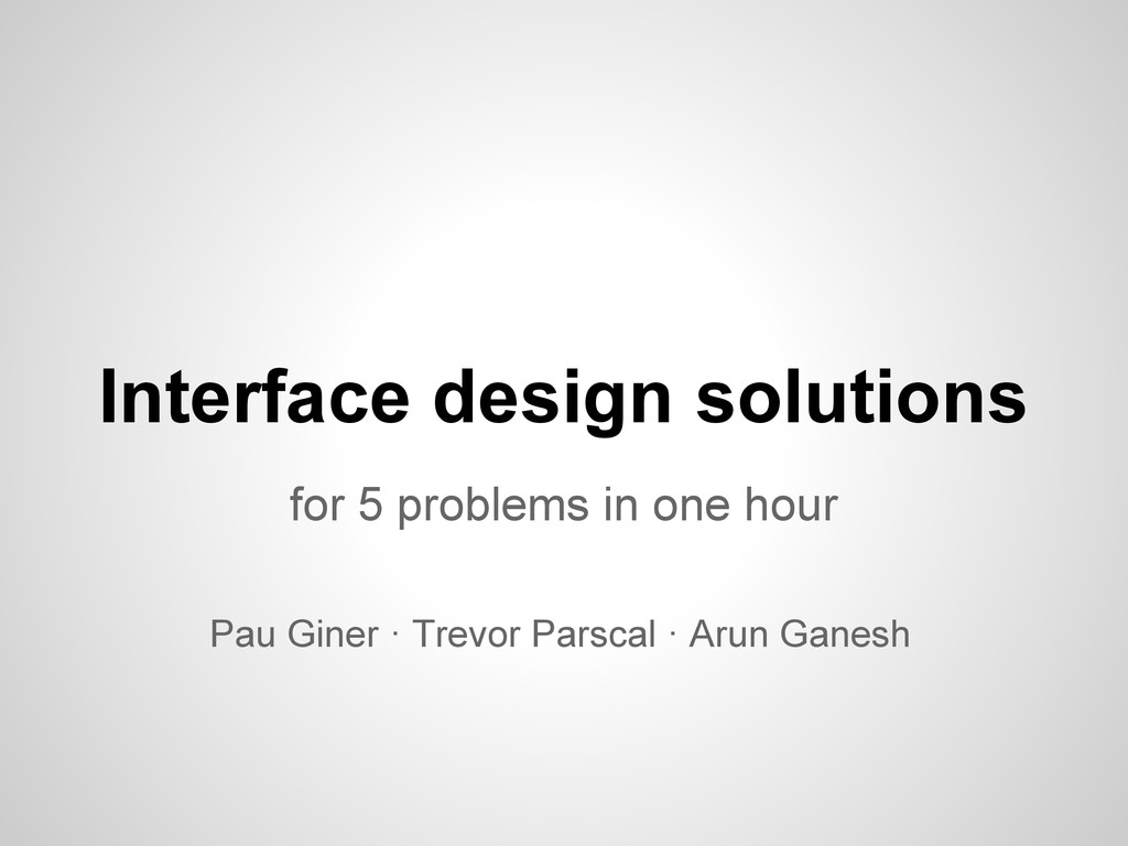 Interface design solutions for 5 problems in on...