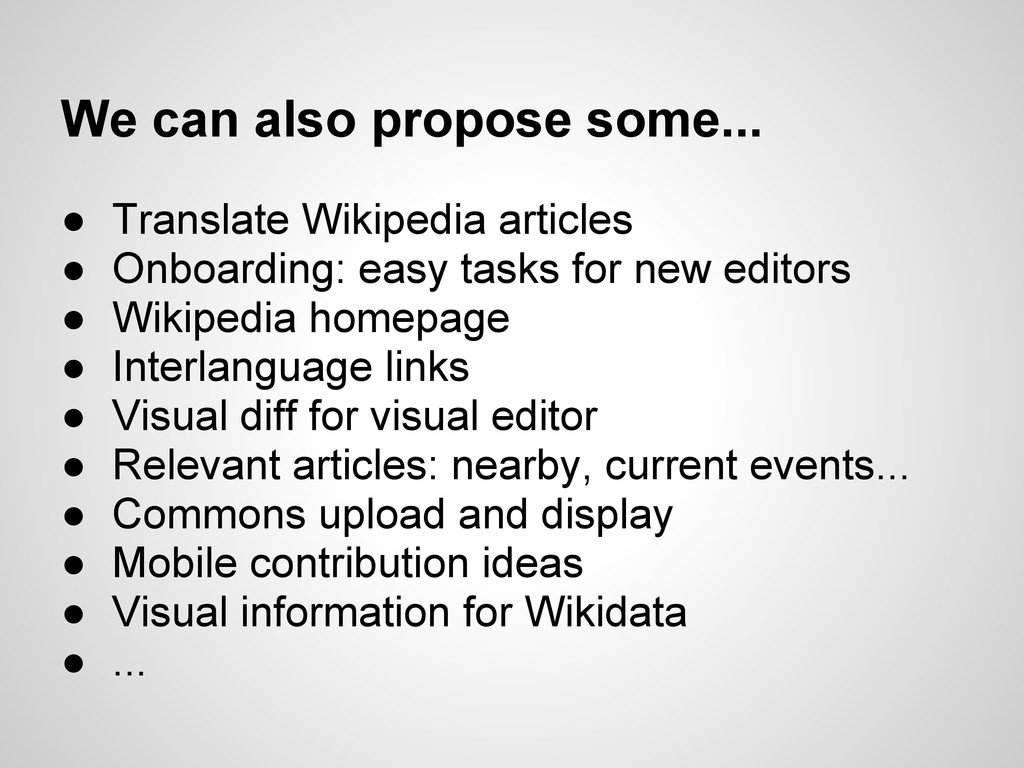 We can also propose some... ● Translate Wikiped...
