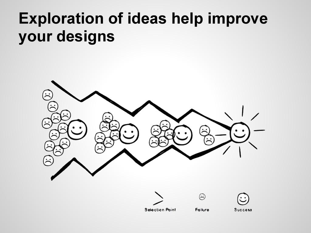 Exploration of ideas help improve your designs