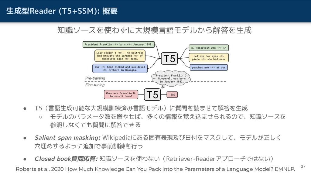 生成型Reader (T5+SSM): 概要 37 知識ソースを使わずに大規模言語モデルから解...