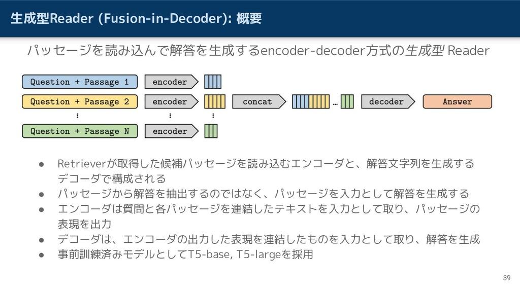 生成型Reader (Fusion-in-Decoder): 概要 39 パッセージを読み込ん...