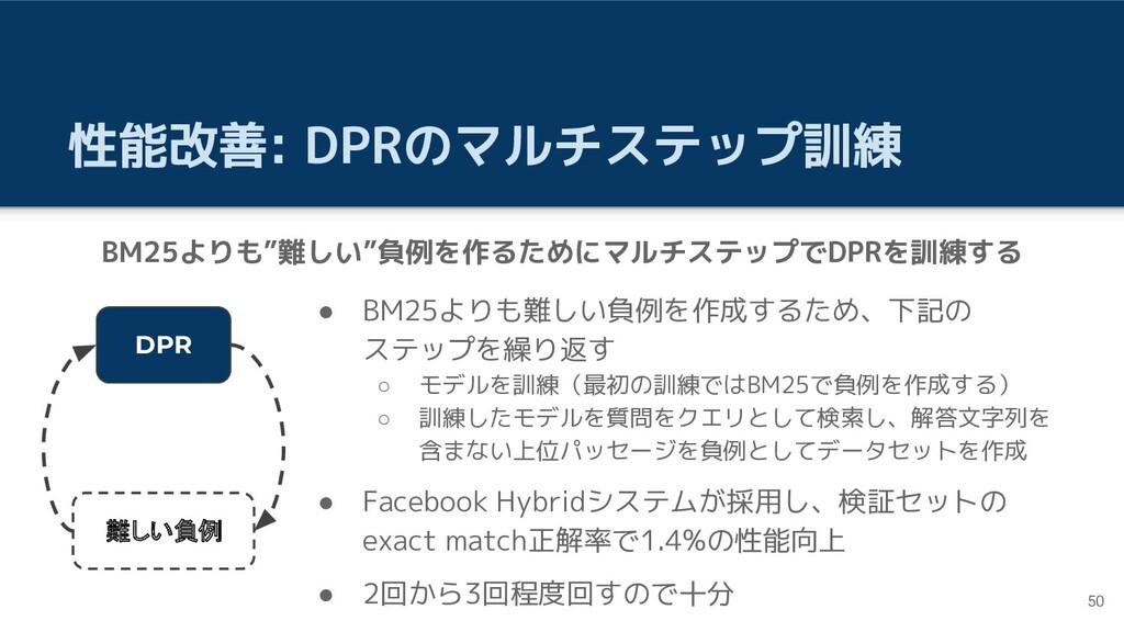 性能改善: DPRのマルチステップ訓練 ● BM25よりも難しい負例を作成するため、下記の ス...