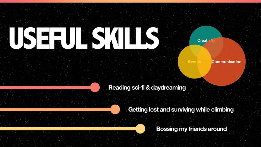 USEFUL SKILLS Reading sci-fi & daydreaming Gett...