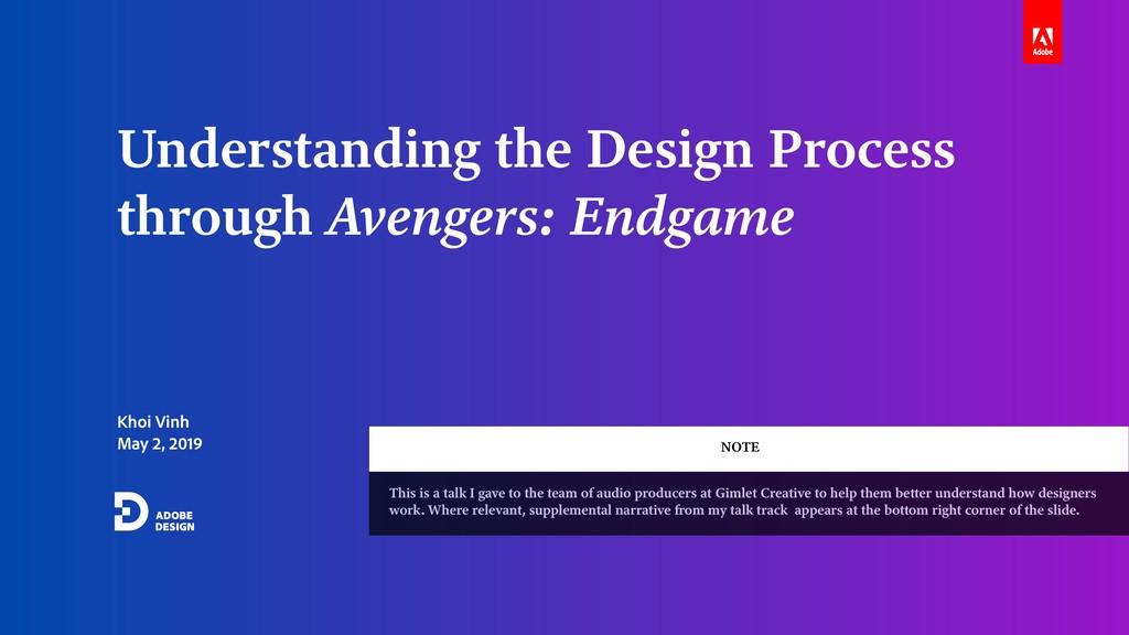Khoi Vinh May 2, 2019 Understanding the Design ...