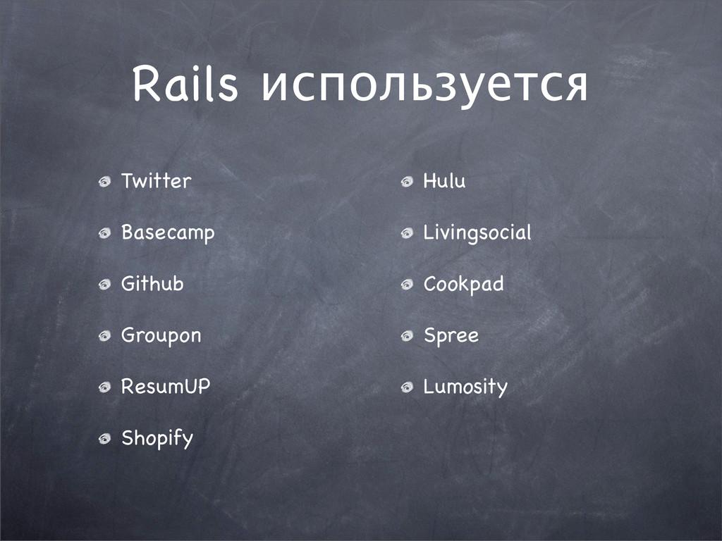 Twitter Basecamp Github Groupon ResumUP Shopify...