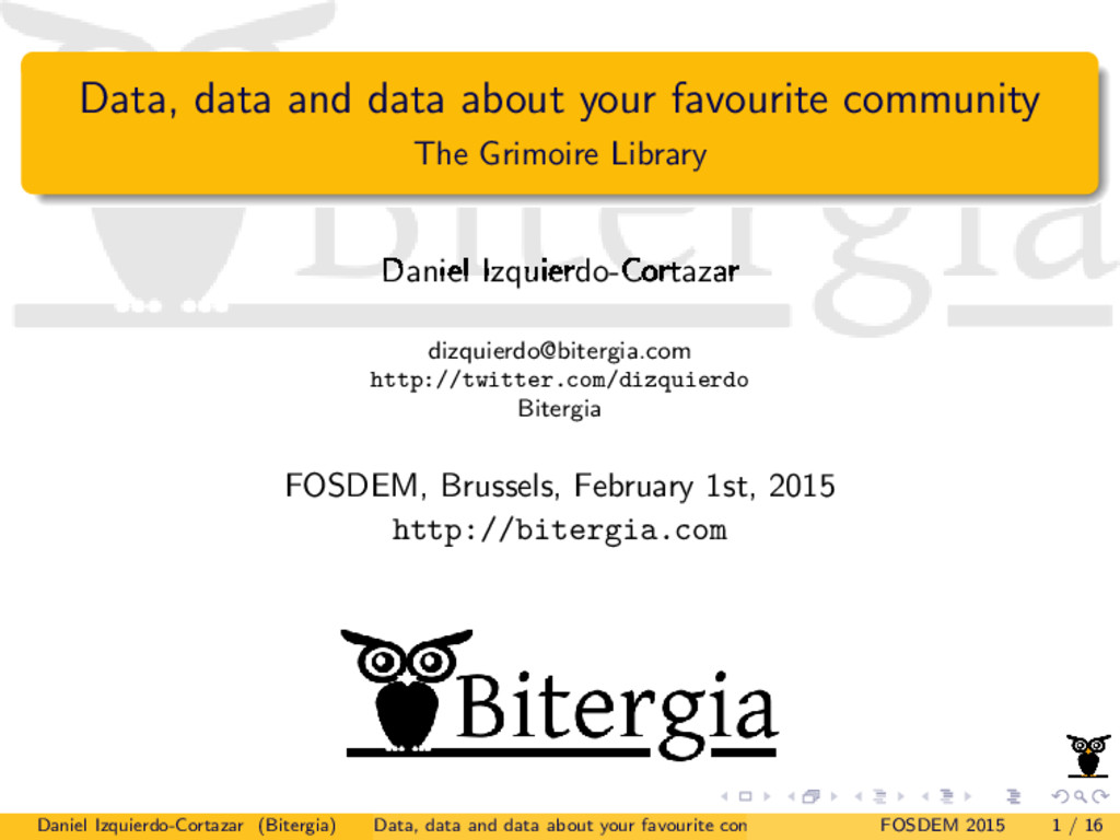 Data, data and data about your favourite commun...