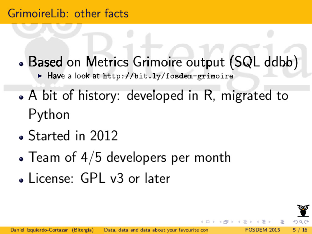 GrimoireLib: other facts Based on Metrics Grimo...