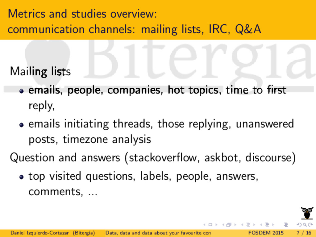 Metrics and studies overview: communication cha...