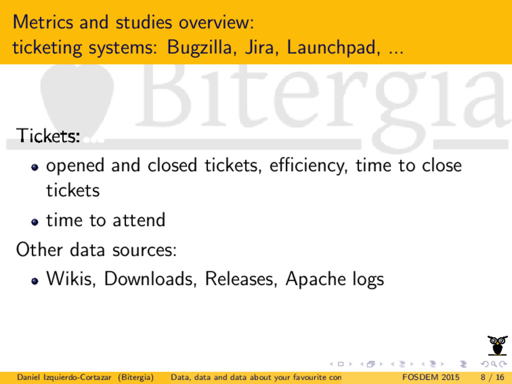 Metrics and studies overview: ticketing systems...