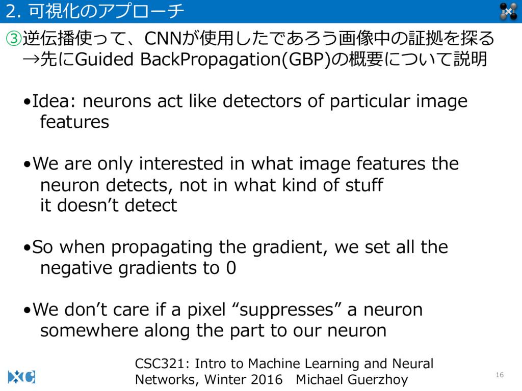 16 2. 可視化のアプローチ ③逆伝播使って、CNNが使⽤用したであろう画像中の証拠を探る...