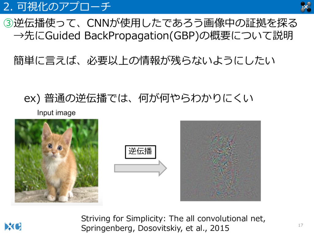 17 2. 可視化のアプローチ ③逆伝播使って、CNNが使⽤用したであろう画像中の証拠を探る...