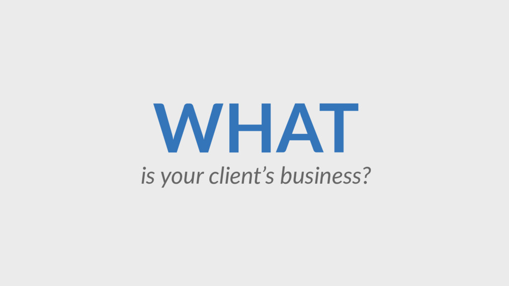 WHAT is your client's business?
