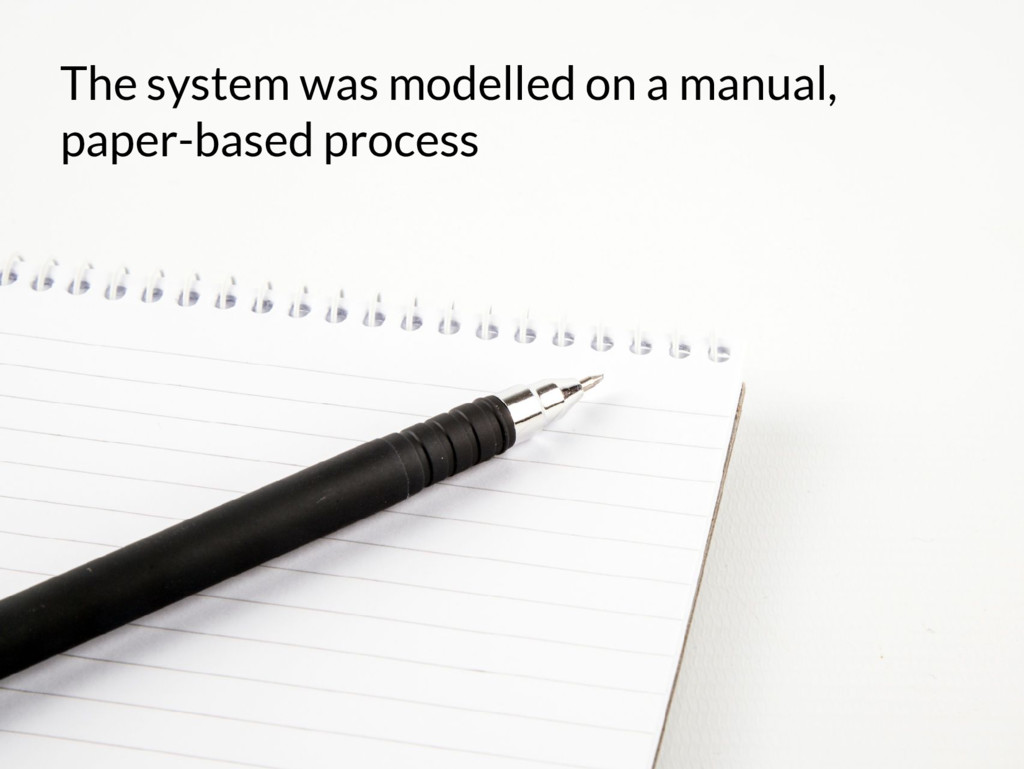 The system was modelled on a manual, paper-base...
