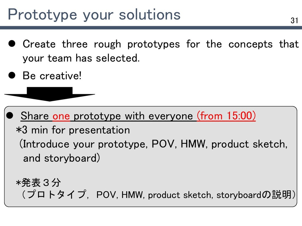 31  Create three rough prototypes for the conc...