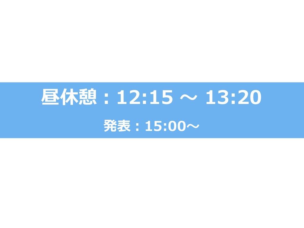 昼休憩:12:15 ~ 13:20 発表:15:00~