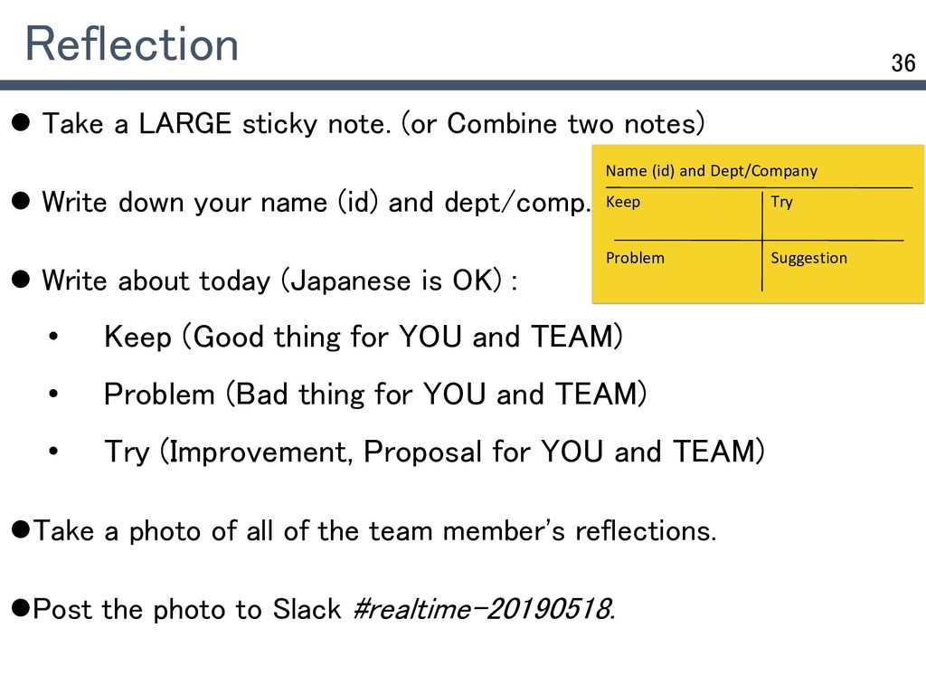 36 Reflection  Take a LARGE sticky note. (or C...