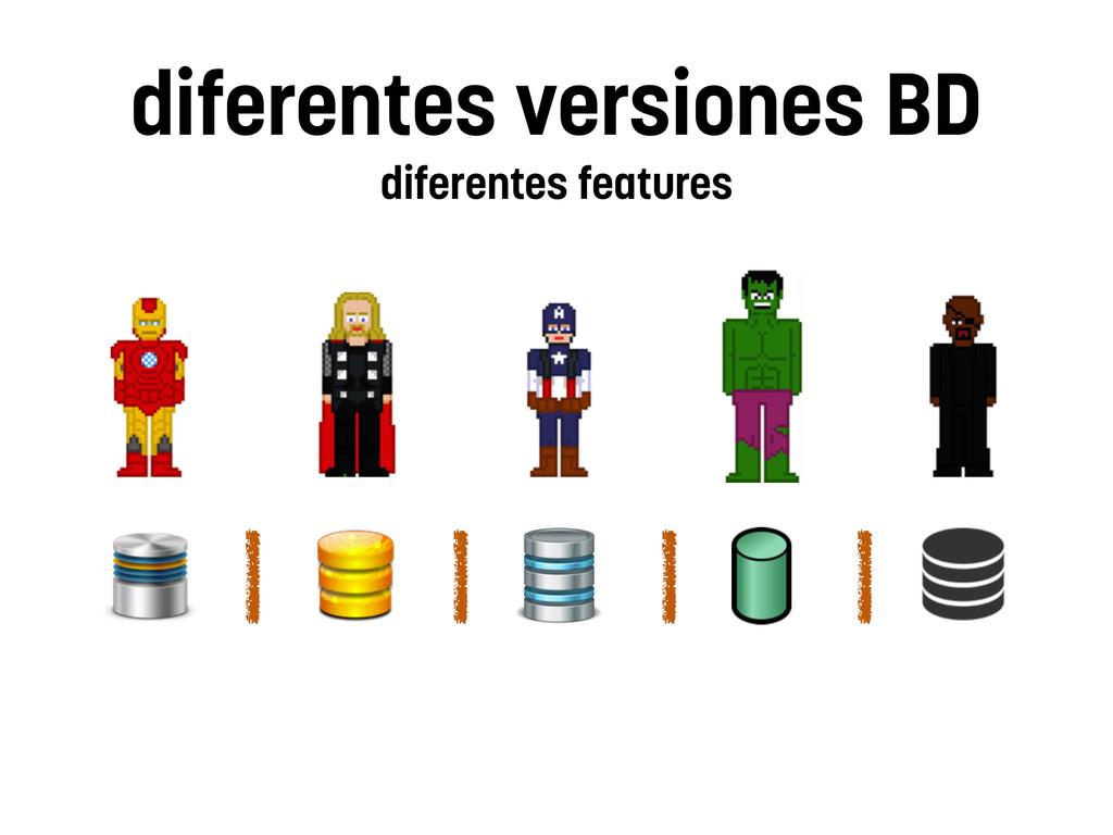 diferentes versiones BD diferentes features