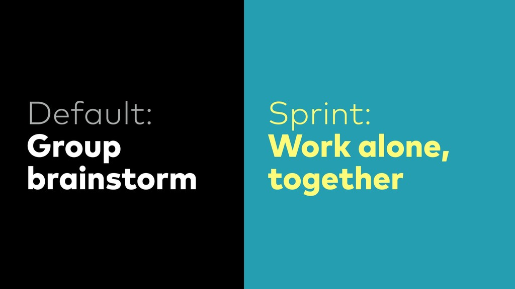 Default: Group brainstorm Sprint: Work alone, t...