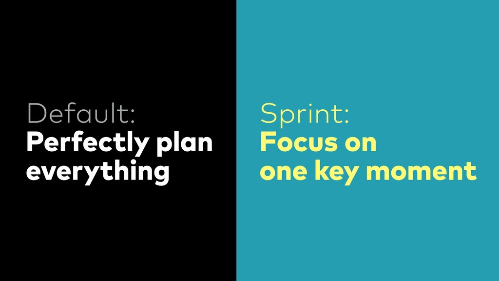 Default: Perfectly plan everything Sprint: Focu...