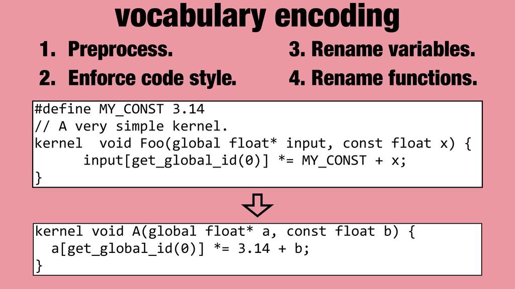 vocabulary encoding #define MY_CONST 3.14 // A ...