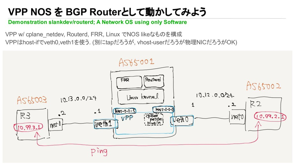 VPP NOS を BGP Routerとして動かしてみよう Demonstration sl...