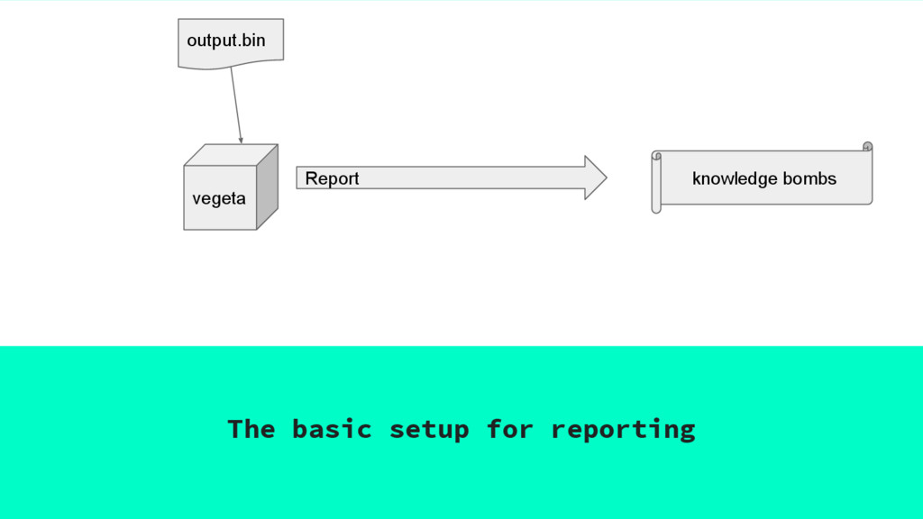The basic setup for reporting vegeta Report out...