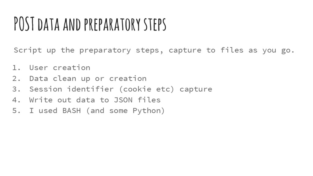 POST data and preparatory steps Script up the p...