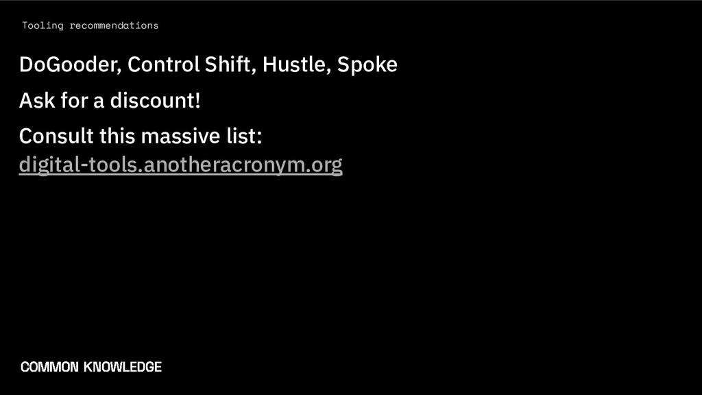 Tooling recommendations DoGooder, Control Shift...