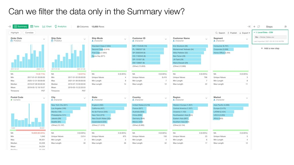 Can we filter the data only in the Summary view?