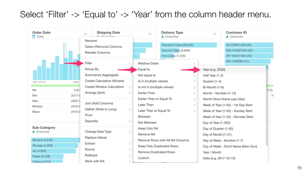 18 Select 'Filter' -> 'Equal to' -> 'Year' from...