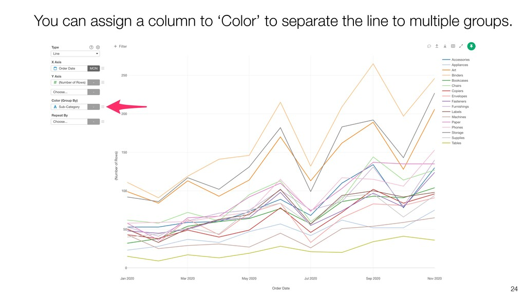 24 You can assign a column to 'Color' to separa...