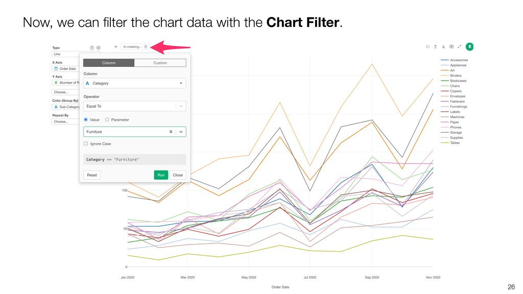 26 Now, we can filter the chart data with the Ch...