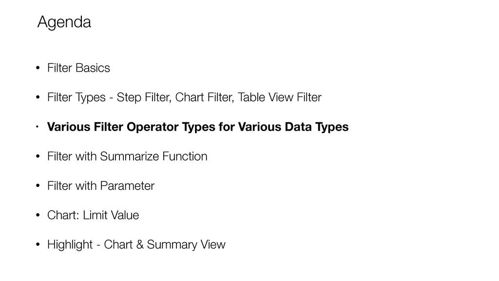 • Filter Basics • Filter Types - Step Filter, C...