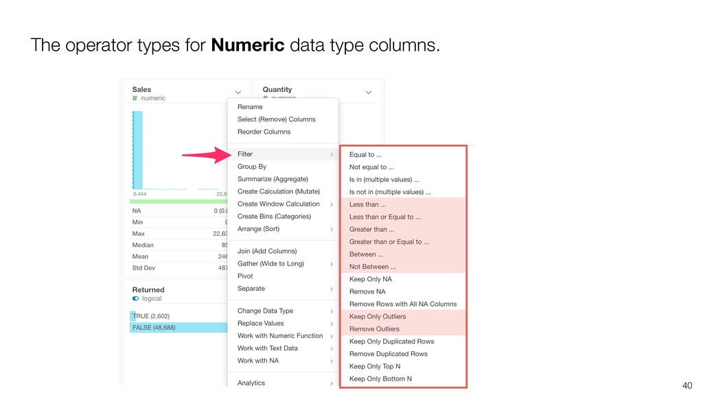 40 The operator types for Numeric data type col...
