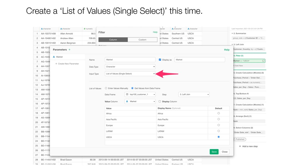 Create a 'List of Values (Single Select)' this ...