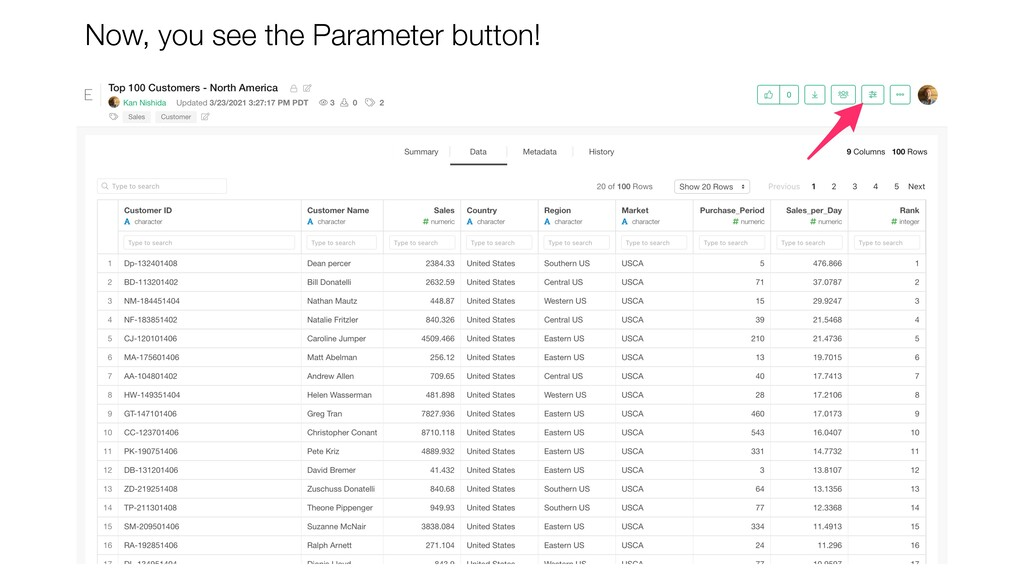 Now, you see the Parameter button!